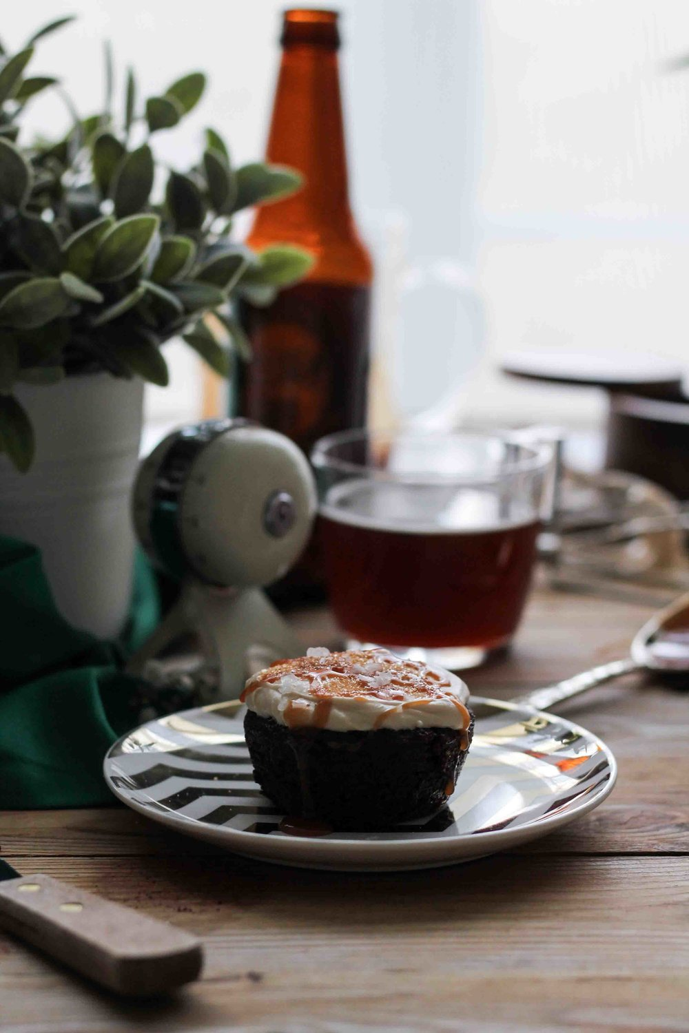 Chocolate & Ale Cupcakes with Salted Caramel Frosting {Pedantic Foodie}