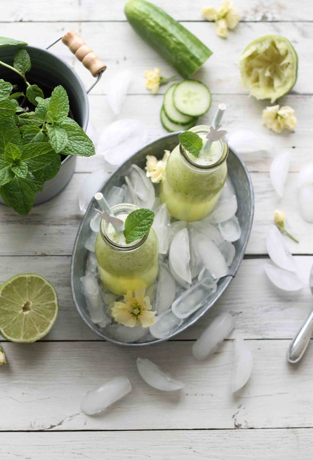 A simple agua fresca made with fresh pineapple, fragrant mint, sweet cucumbers, and brightened with lime.  The perfect springtime tonic!