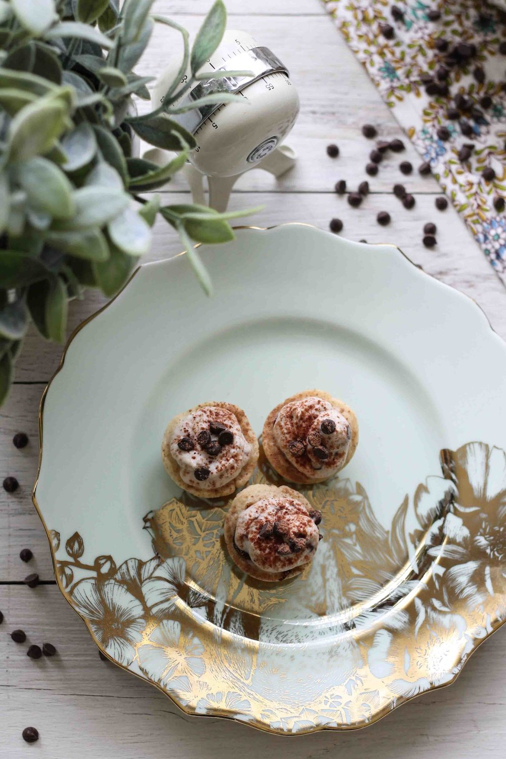 These adorable Chocolate Chip Cannoli Tartlets are the perfect grab-and-go treat for your next bridal or baby shower!