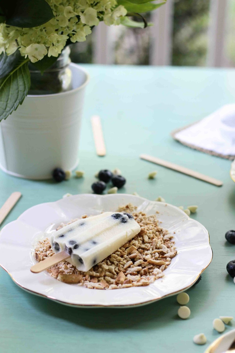 White Chocolate Pudding Pops with Blueberries & Pretzel Sprinkles {Pedantic Foodie}