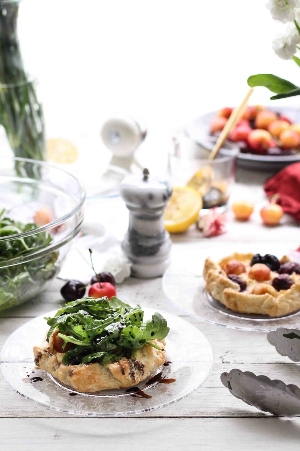 Cherry & Chèvre Galettes with Arugula and Balsamic {Pedantic Foodie}