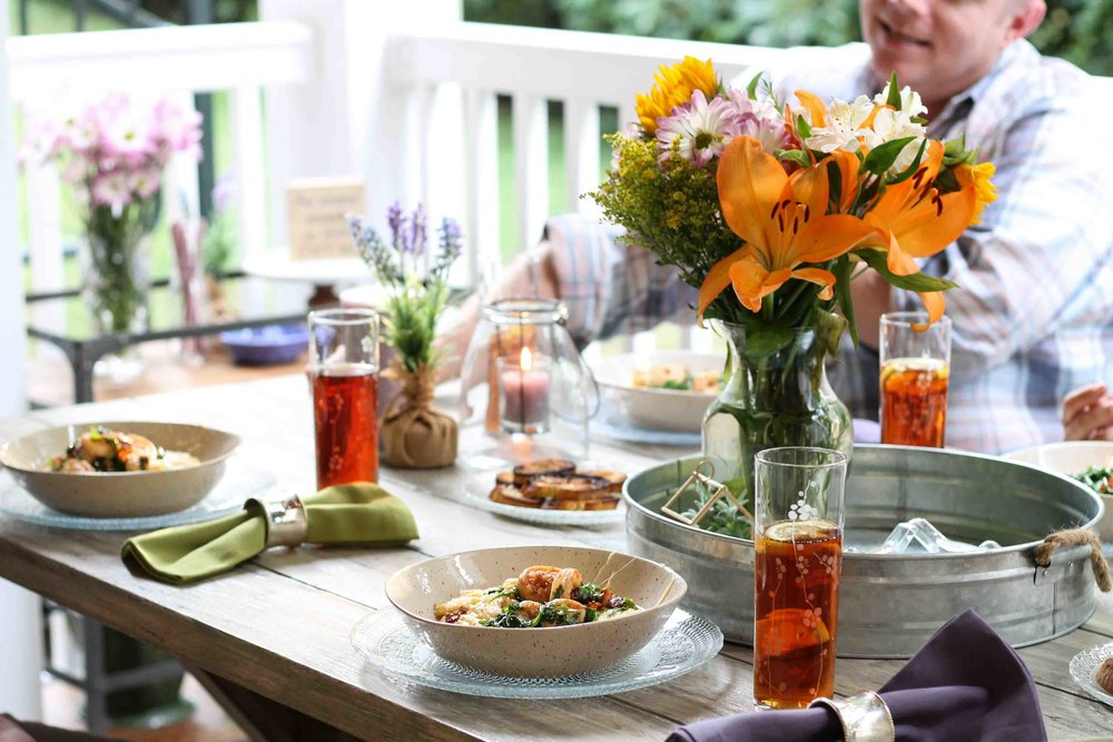 A simple, southern-inspired outdoor meal for 6 on $40!  {Pedantic Foodie}