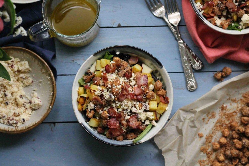 Autumn Salad with Warm Bacon Vinaigrette {Pedantic Foodie}