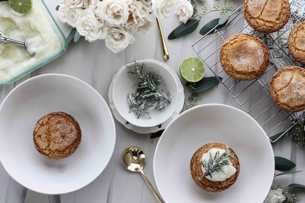 Olive Oil Cakelets with Rosemary-Lime Sorbet  [ www.pedanticfoodie.com ]