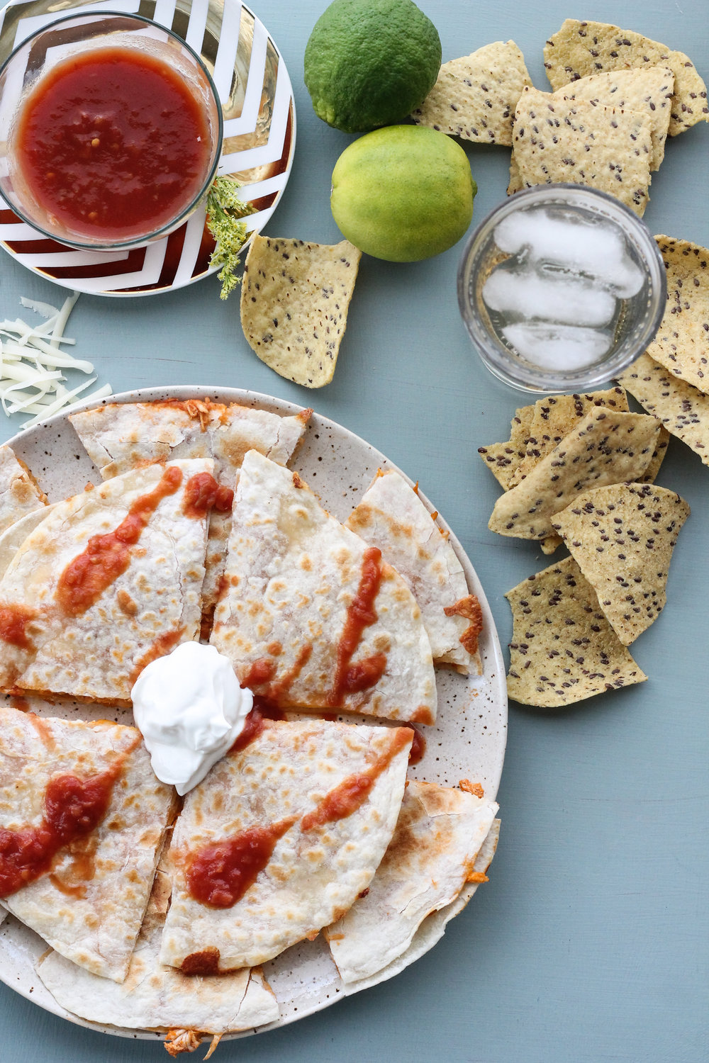 MY FAVORITE SALSA SHREDDED CHICKEN QUESADILLAS [ www.pedanticfoodie.com ]