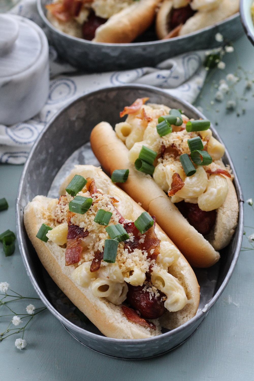 Macaroni & Cheese Hot Dogs with Bacon and Panko [ www.pedanticfoodie.com ]
