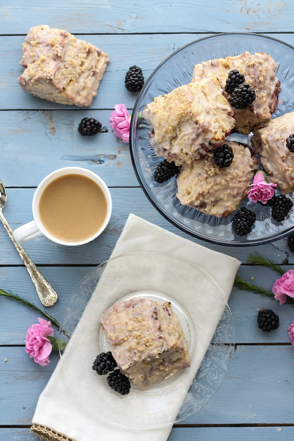Blackberry Buttermilk Biscuits with Cinnamon Glaze & Praline { www.pedanticfoodie.com }