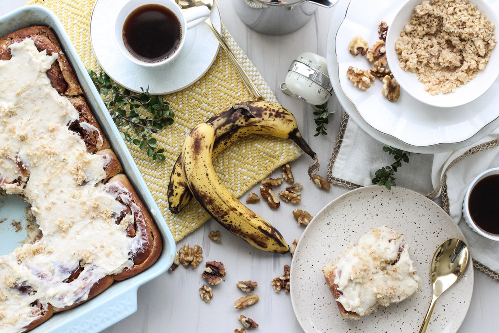 BANANA BREAD CINNAMON ROLLS WITH WALNUT PRALINE WILL CHANGE YOUR LIFE [ www.pedanticfoodie.com ]