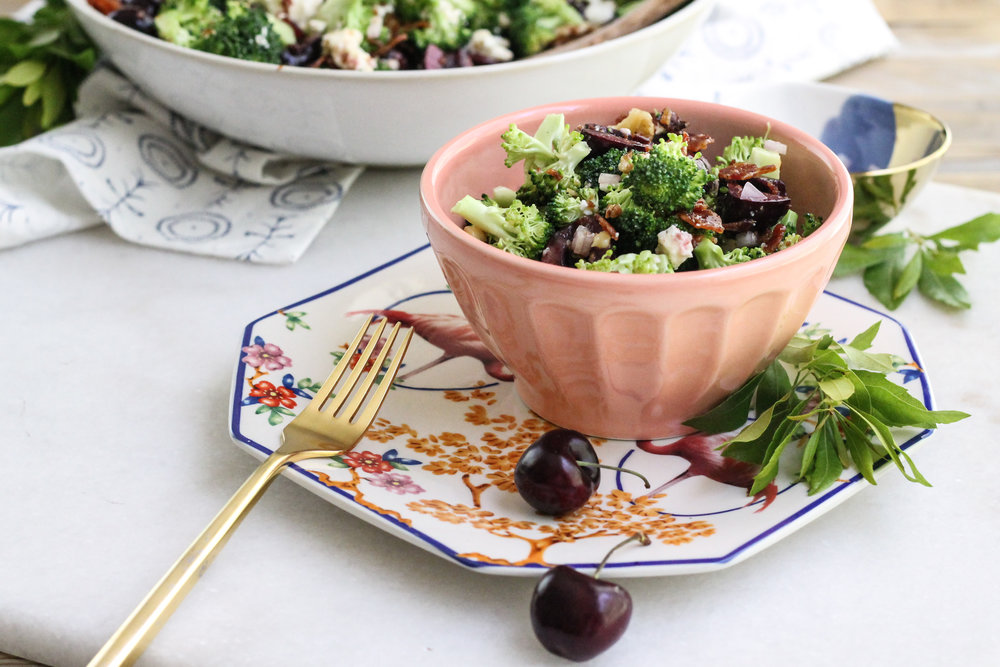 Classic broccoli salad gets a makeover with black cherries and a sweet bacon vinaigrette!  The perfect summer side dish! [ www.pedanticfoodie.com ]
