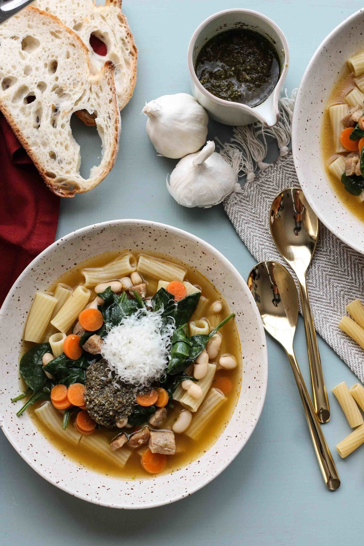 Italian Sausage & Pesto Soup [ www.pedanticfoodie.com ]