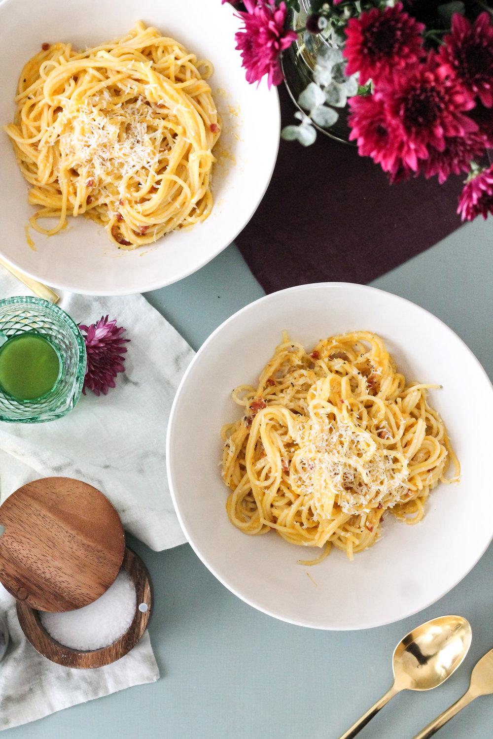 Classic carbonara is taken to the next level of dreamy when creamy butternut squash is added! [ www.pedanticfoodie.com ]