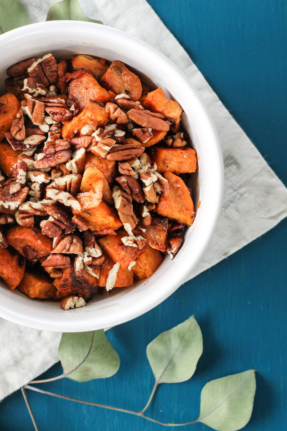 Roasted Sweet Potatoes with Maple Ginger Glaze and Bacon [ www.pedanticfoodie.com ]