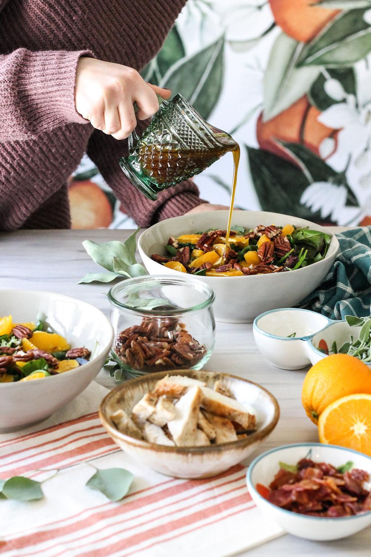Mixed Green Salad with Oranges, Sage Brown Butter Chicken & Maple Cinnamon Vinaigrette [ www.pedanticfoodie.com ]