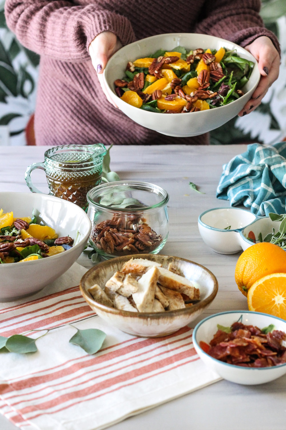 Mixed Green Salad with Oranges, Sage Brown Butter Chicken & Maple Cinnamon Vinaigrette [ www.pedanticfoodie.com ]