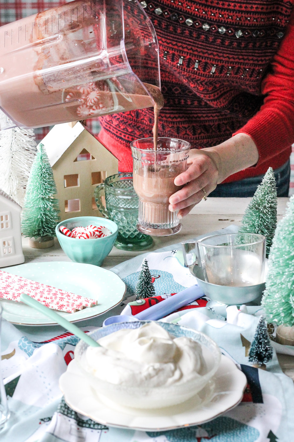 Double Chocolate Peppermint Malts are the perfect way to make a family movie night or Christmas-tree decorating party extra special!  Find the recipe on www.pedanticfoodie.com!