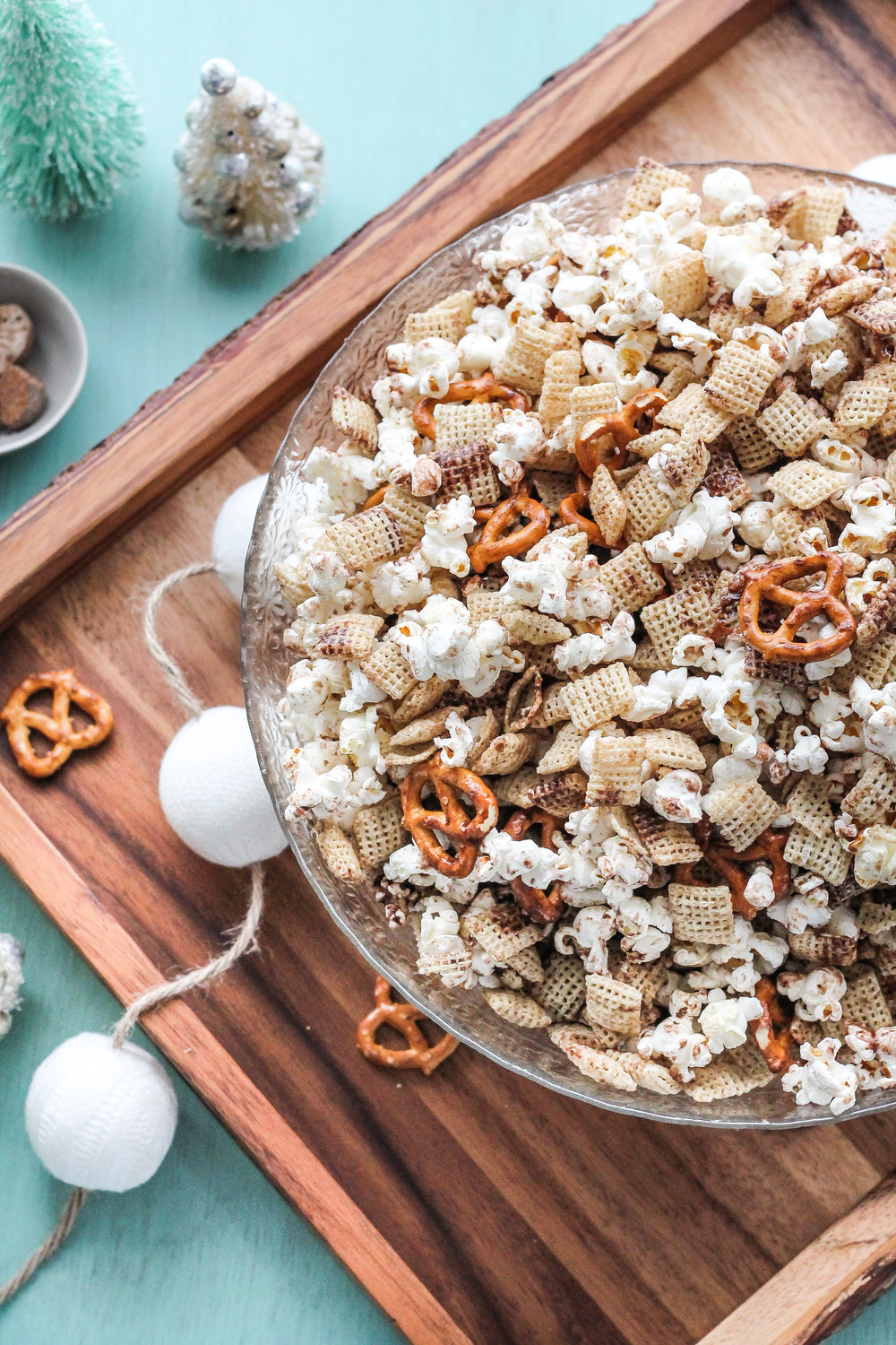 Hot cocoa snack mix makes the perfect snack for a cozy, Christmas movie night!  Find the recipe on www.pedanticfoodie.com!!