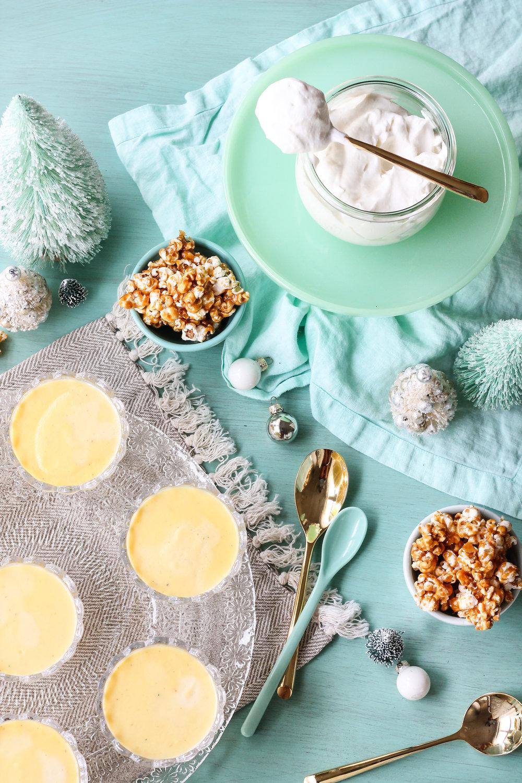 Eggnog Custard with Salted Caramel Popcorn [ www.pedanticfoodie.com ]