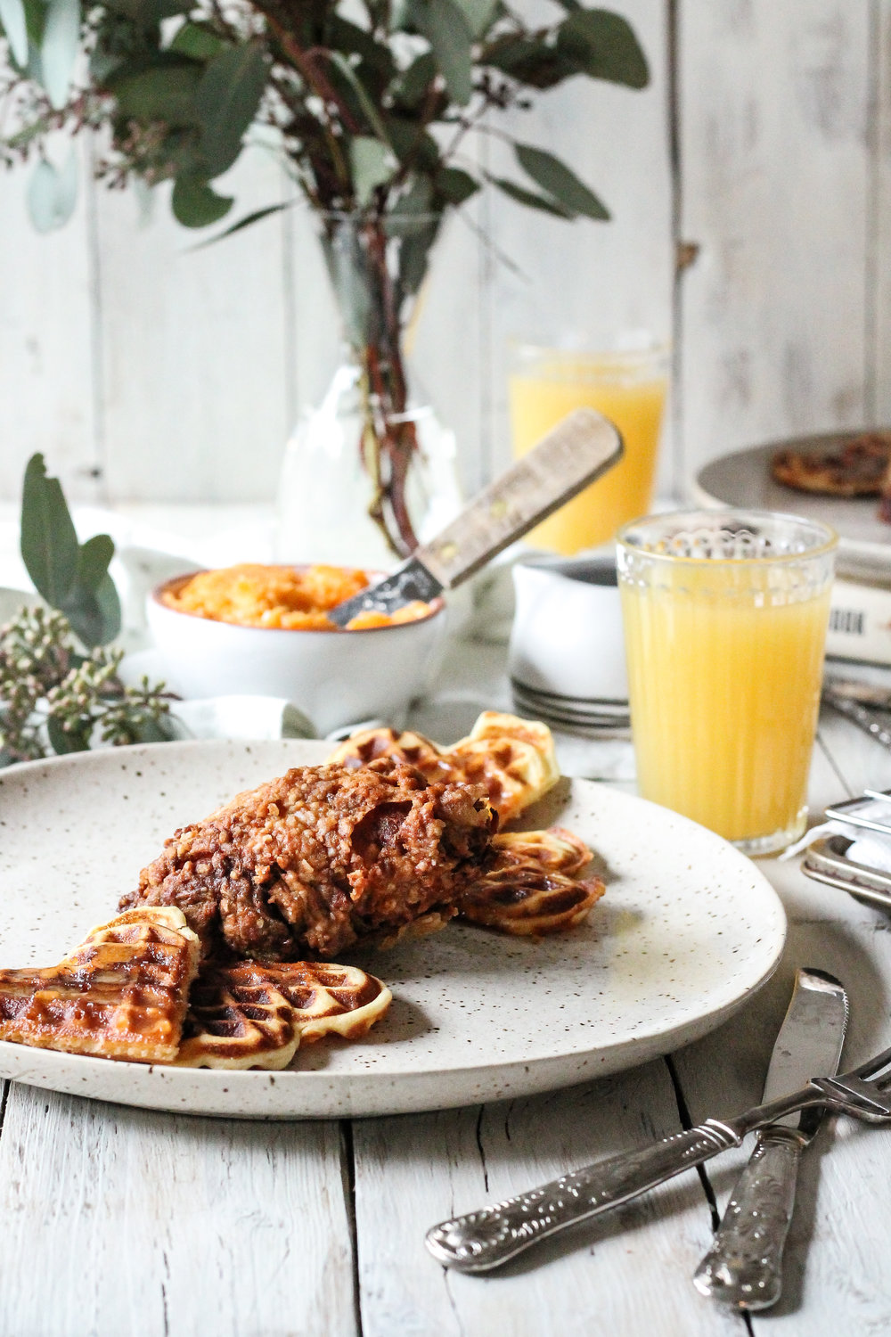 CHICKEN & WAFFLES with HOT HONEY BUTTER make the perfect breakfast, brunch, or dinner!!  Find the recipe on www.pedanticfoodie.com!