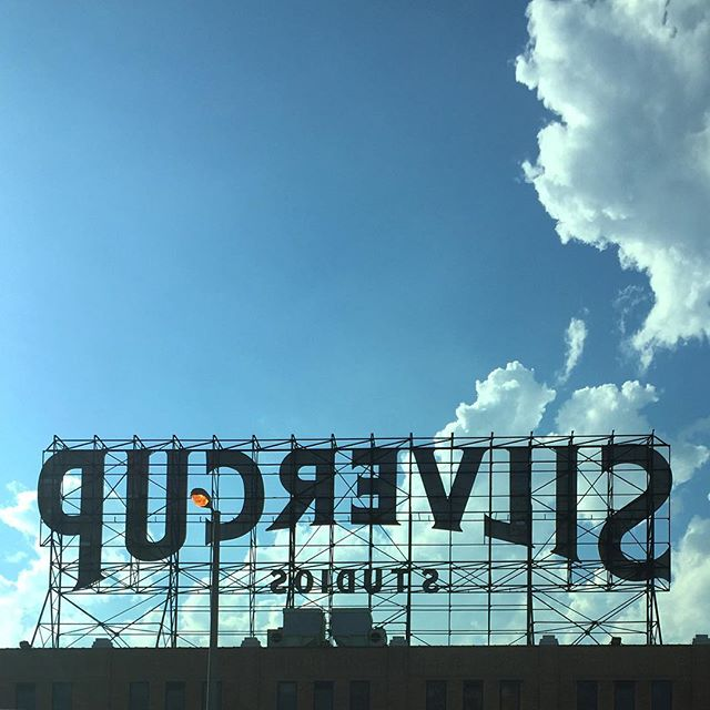From the #airport #silvercupstudios #signage #typography #summerdays #bluesky #clouds