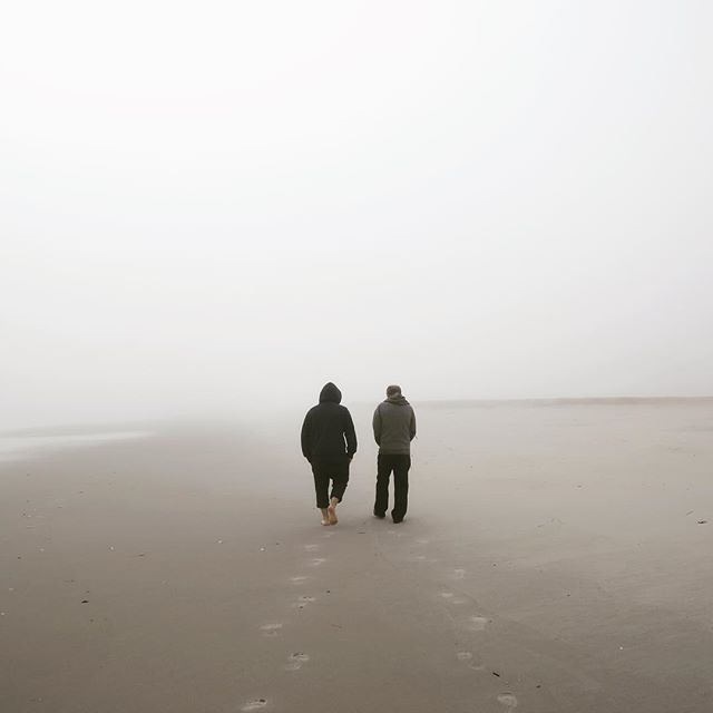 The team #tbt #zerovisibility #fog #cantsee #footprints #fatherandson #lbi