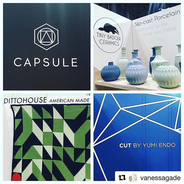 #Repost @vanessagade with @repostapp ・・・ My awesome neighbors at @designmilk MILKSTAND @icff_nyc ! Come check them out at booth 105!  @tinybadgerceramics @capsule @dittohouse_ @yumiendo * * designmilk #nyc #tradeshow #icff_nyc #icff2017 #DMMilkStand #moderndesign #artisan #americanmade #makers #nycxdesign