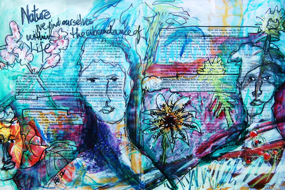 Mixed Media Art Journal  http://ardithsart.blogspot.com/2013/05/table-with-view-art-journal-page.html