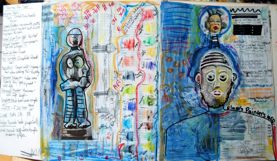 "Mixed Media Art Journal ""Testing Tools""  http://ardithsart.blogspot.com/2013/05/art-journal-page-testing-tools.html"