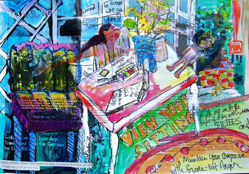 """Mixed Media Art Journal """"Walk Into the Light""""  http://ardithsart.blogspot.com/2013/04/art-journal-page-walk-into-light.html"""