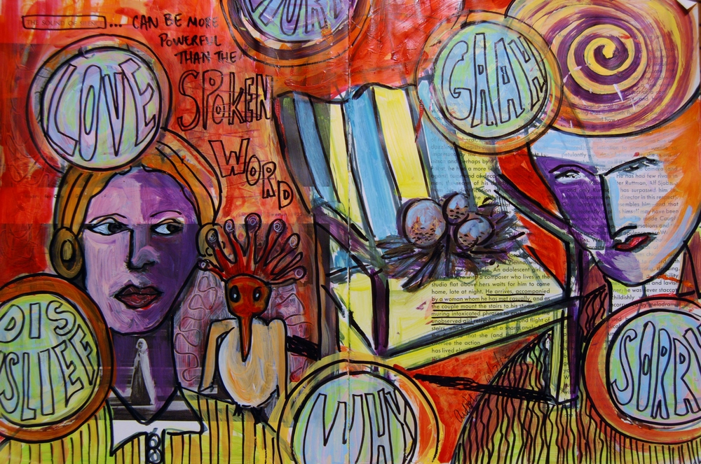 Mixed Media Journal - The Look of Scorn  http://ardithsart.blogspot.com/2013/06/the-face-of-scorn-art-journal-page.html
