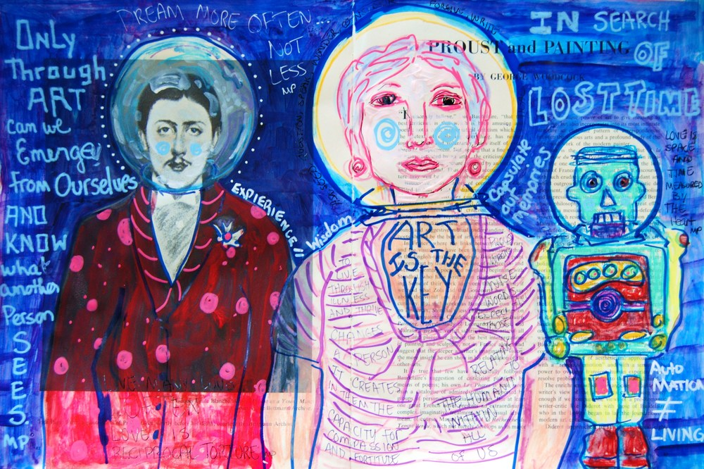 Mixed Media Journal - Thoughts on Proust   http://ardithsart.blogspot.com/2013/06/the-impression-of-proust-art-journal.html View the works in progress images in my FB album below:  https://www.facebook.com/ardithgoodwin/media_set?set=a.10200877135441347.1073741826.1553498689&type=1