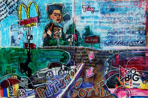 "Mixed Media Art Journal ""Frida Stops for Fries""  http://ardithsart.blogspot.com/2013/06/a-weeks-worth-of-mixed-media-art.html"