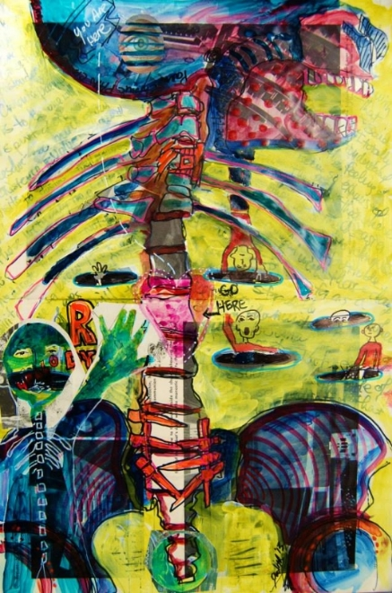 "Mixed Media Art Journal ""The Structure of Self""  An art journal page using the sketches of my spine showcasing my screws and plates.   http://ardithsart.blogspot.com/2013/05/journaling-workshops-and-sketching-oh-my.html"