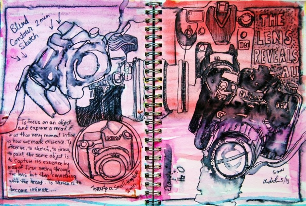 "Mixed Media Art Journal ""One Camera Four Views""  http://ardithsart.blogspot.com/2013/06/a-weeks-worth-of-mixed-media-art.html"