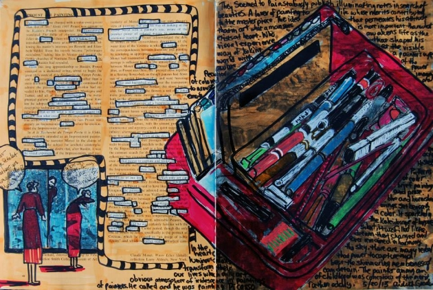 "Mixed Media Art Journal ""Pens and Proust"" This page was created using Chartpak and Crayola markers along with graphite.  I also embraced the found poetry using the article discussing Proust and his influence."