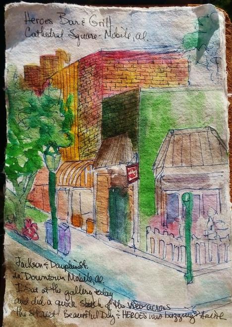 Watercolor Sketchbook Heroes Bar and Grill, Mobile, Al.