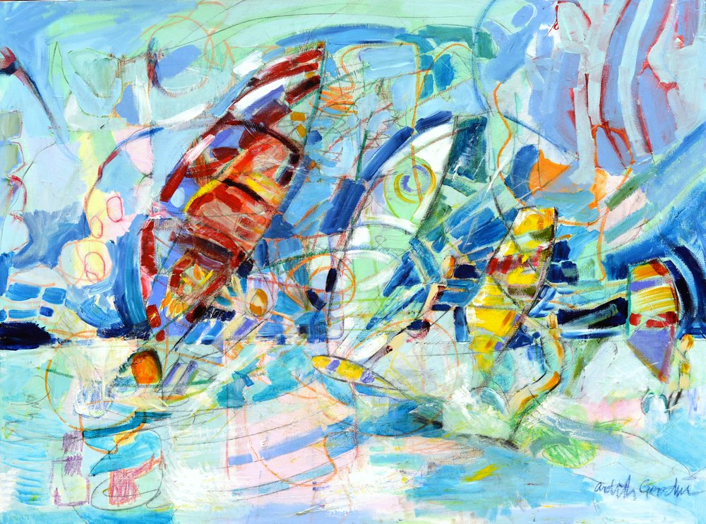 Windsurfers With Red Sails by Ardith Goodwin