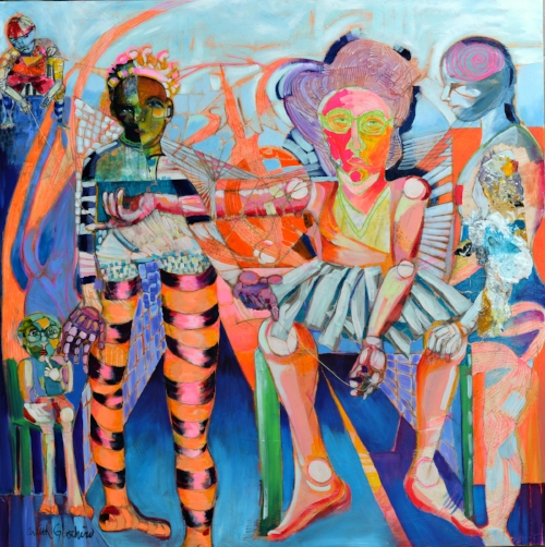"""Lilyann Lexicon Spins Strings of Tut 48"""" by 48"""" mixed media on canvas by Ardith Goodwin"""