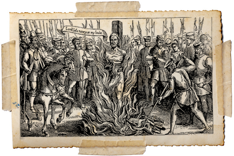 The burning of John Hooper in 1555.