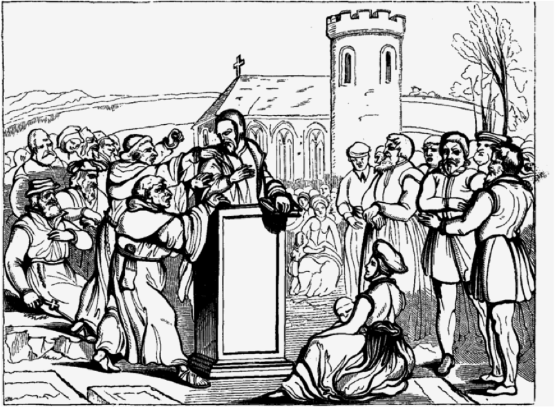 A depiction of Bilney being taken out of the pulpit as he taught in England