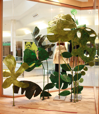 A view of the leaves from inside the store.