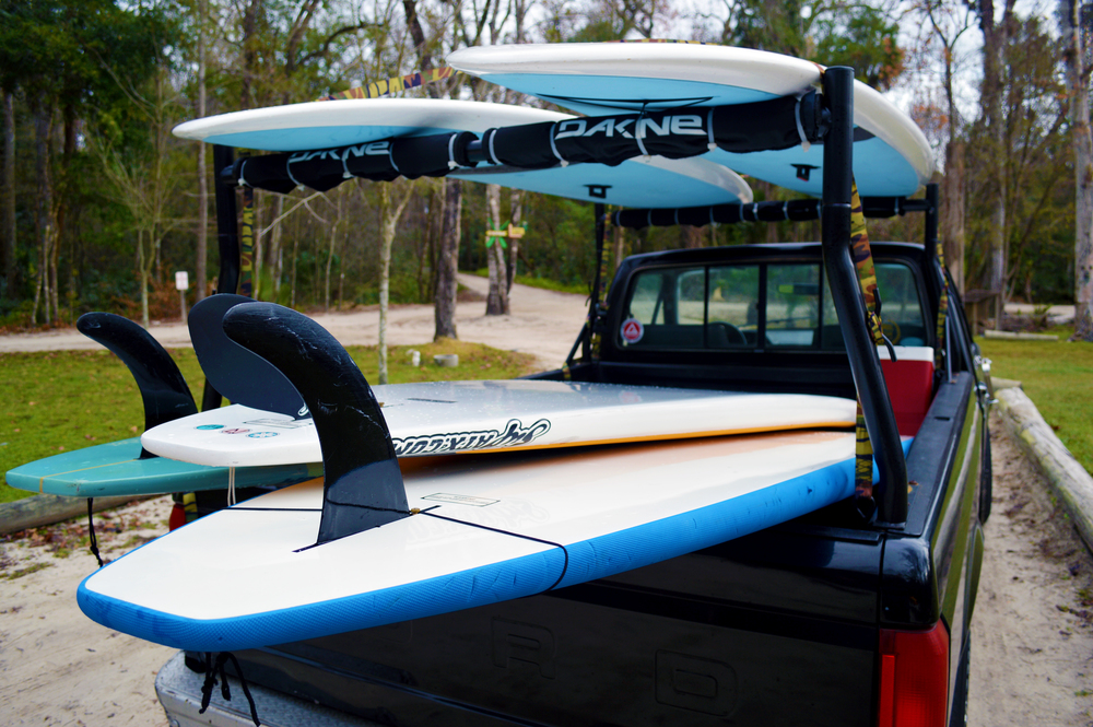 Our truck full of paddleboards for our Wekiva River Paddleboard tour