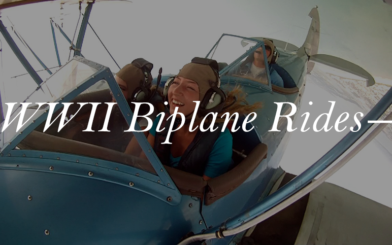History and excitement rolled into one. Our World War II era open cockpit biplane rides are an adventure you don't want to miss. Fly over Cocoa Beach, and see Kennedy Space Center in style!