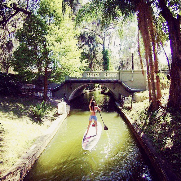 Paddleboarding the canals in Winter Park Chain oF Lakes
