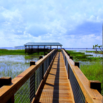 Private airboat dock on Lake Cypress near Orlando