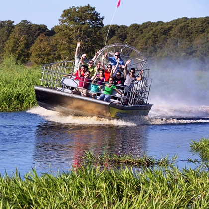 Group of visitors having fun on an airboat ride