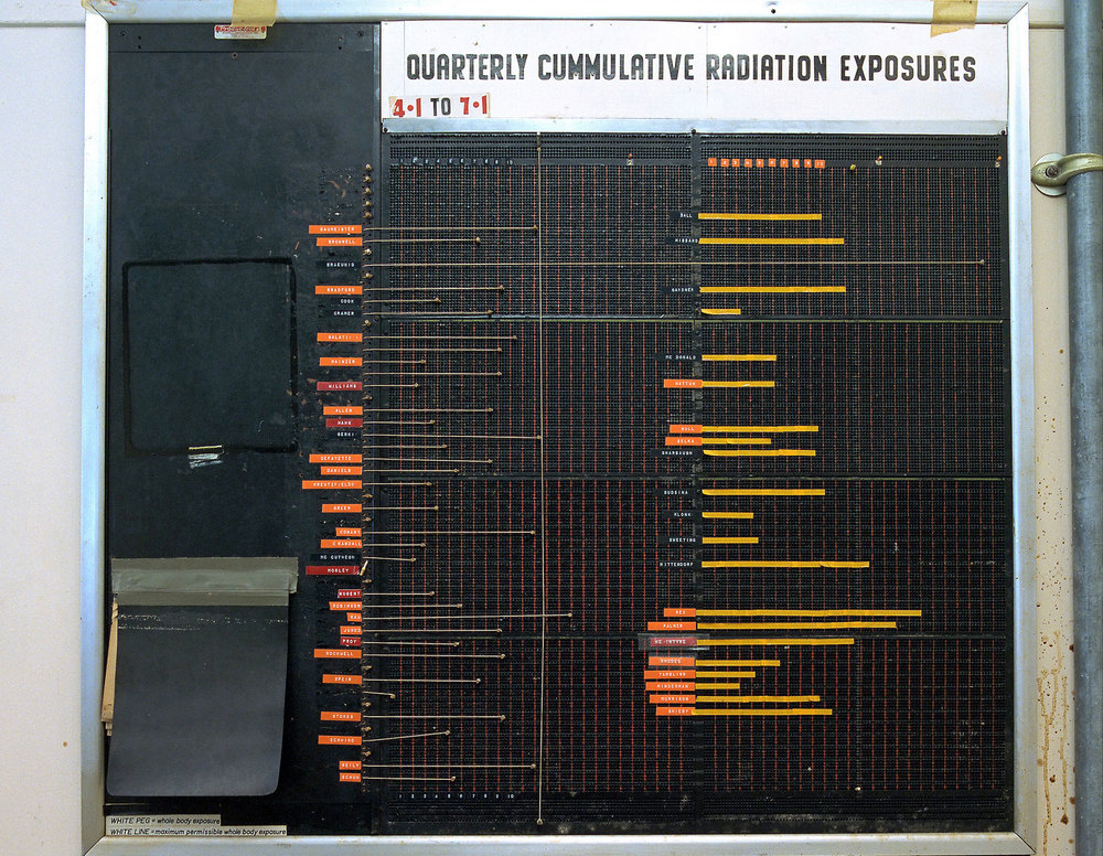 NASA — Glenn Research Center Plum Brook Station — board with data from dosimeters
