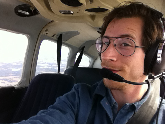 Not much to do with the project, just a selfy I took during my first solo cross-country in Jan 2012!