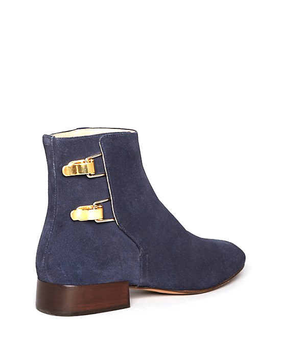 Brennan Flat:Blue Suede Boots by Chloé