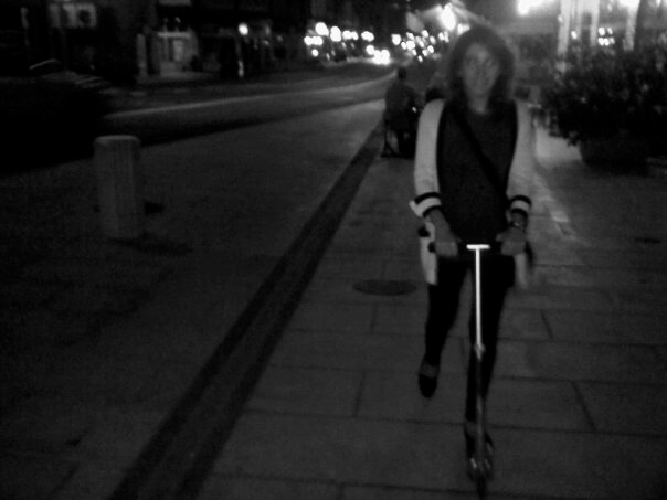 Roberto Razor Scooter &  I in  the Plainpalais neighborhood of Geneva, Switzerland