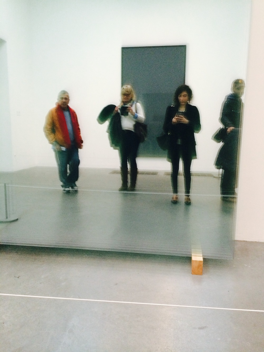 Selfie Taken at the Tate Modern in the reflection of Gerhard Ricter's 11 Panes 2004 Glass and Wood